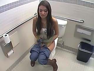 Brunette Cute  Toilet Voyeur Hidden Toilet Toilet Sex Toilet Pissing