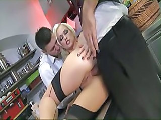Amazing Anal Babe Blonde French Maid Stockings Threesome Blonde Anal Stockings French Anal French + Maid Maid + Anal European French