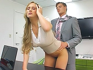 Amazing Babe Blonde Clothed Doggystyle  Office Secretary Clothed Fuck Office Babe