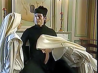 Blowjob Clothed Nun Threesome