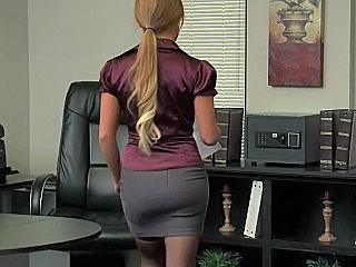Blonde Office Pantyhose Solo Uniform Office Babe Office Pussy