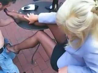 Blonde Clothed Feet Legs Outdoor Stockings Outdoor Footjob Foot Stockings