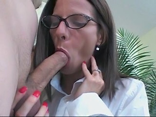 Blowjob Brunette Glasses Office