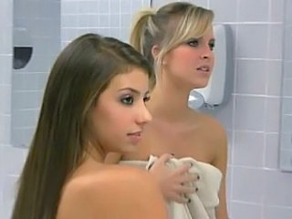 Blonde Brunette European Lesbian Showers Young Gym Bathroom
