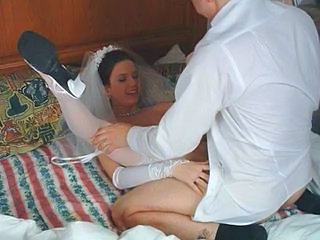 Amateur Bride Brunette Homemade Wedding Stockings