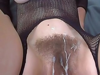 Cumshot Fishnet Hairy Fishnet