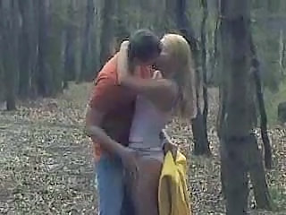 Girlfriend Kissing Outdoor Forest Outdoor
