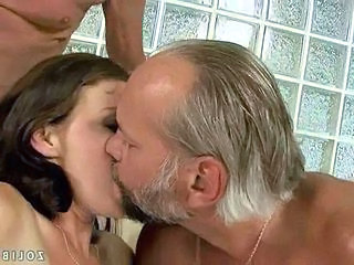 Brunette Kissing Old and Young Threesome Grandpa Old And Young Threesome Brunette