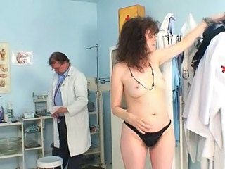 Brunette Doctor Mature Uniform Gyno Doctor Mature