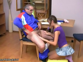 Blowjob Cute Older Old and Young Pigtail Skirt Cute Blowjob Old And Young Older Man