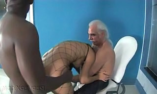 Doggystyle Fishnet Interracial Pornstar Fishnet