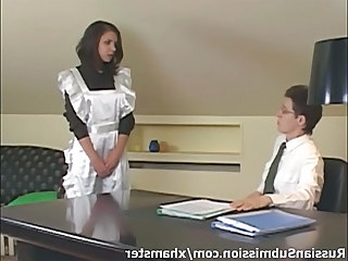 Brunette Maid Russian Uniform Beautiful Brunette