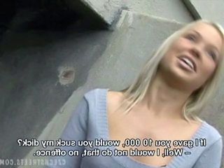 Cash Cute Blonde Czech Outdoor European Public
