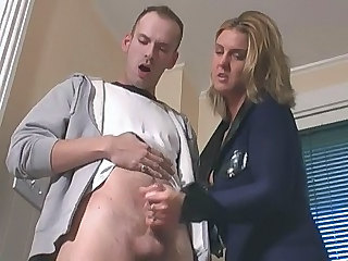 Blonde Handjob  Uniform Jerk