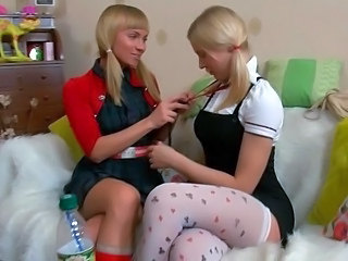 Blonde Lesbian Pigtail Stockings Twins Young Blonde Lesbian Stockings