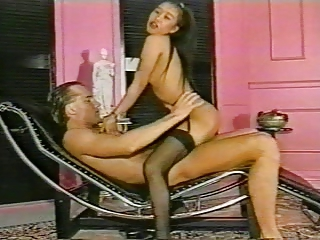 Asian Cute Interracial Pornstar Riding Stockings Vintage