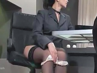 Brunette Office Panty Secretary Stockings Stockings