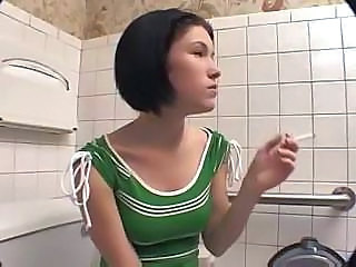 Amateur Smoking Toilet Amateur