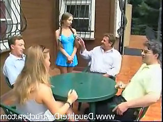 Family Outdoor Pigtail Young Daddy Outdoor Family