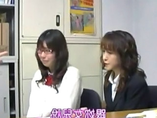 Asian Daughter Glasses  Mom Office Old and Young Student Teen Uniform Daughter Mom Daughter Mom Daughter Mother Schoolgirl Police