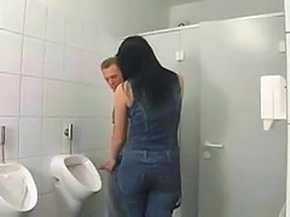 Brunette European German Handjob Toilet Bathroom European German