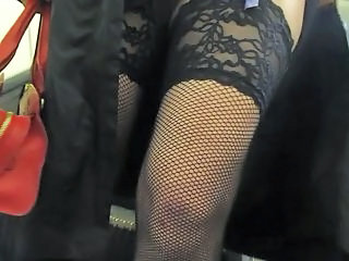 Public Stockings Fishnet Stockings Flashing Public