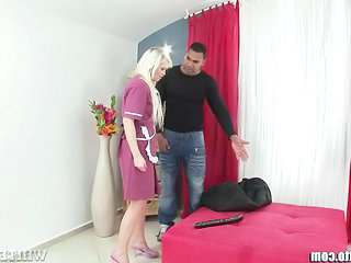 Blonde Maid  Uniform Punish Dildo Milf