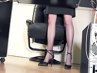 Legs Office Secretary Fingering Nylon