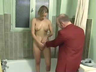 Bathroom Daddy Daughter Old and Young Teen