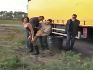 Clothed Gangbang  Outdoor Public