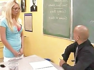 Amazing Big Tits Blonde Glasses  School Teacher Classroom