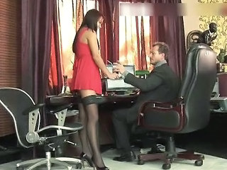 Babe Office Secretary Stockings Gaping