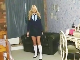 Babe Blonde British European Pigtail Solo Student Uniform British