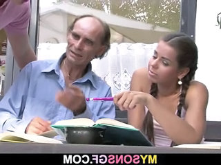 Daddy Daughter Old and Young Pigtail Teacher Teen