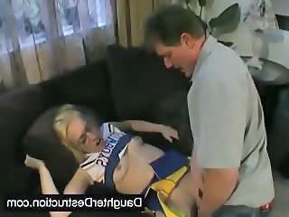 Cheerleader Clothed Daddy Daughter Old and Young Teen Uniform Brutal