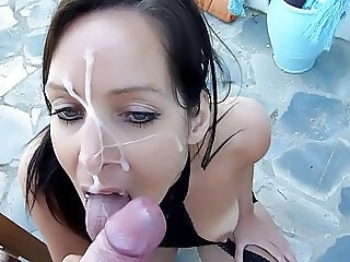 Amazing Cumshot Facial Outdoor Pov Teen Stockings