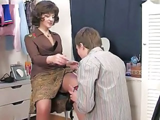 Mom Old and Young Russian Stockings Son Caught