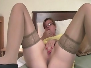 Glasses Masturbating Mom Stockings Mother