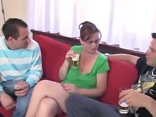 Drunk Licking Mature  Threesome
