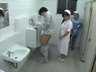 Asian Nurse Threesome Toilet Uniform Jerk