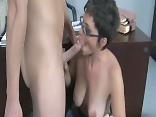 Big Tits Blowjob Glasses Mature Mom Natural Old and Young  Teacher