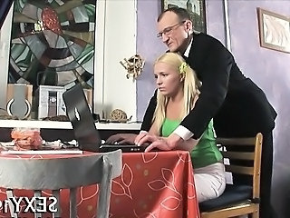 Amazing Old and Young Russian Teacher Teen
