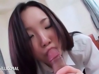 Asian Blowjob Brunette Facial Hairy Japanese Student College
