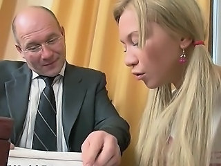 Hardcore Old and Young Pigtail Russian Teacher Teen