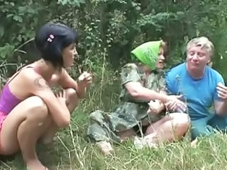 Amateur Old and Young Outdoor Threesome
