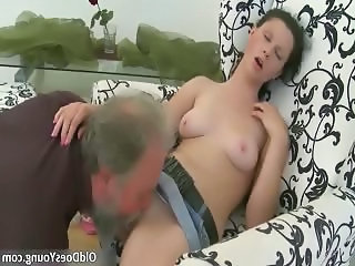 Daddy Daughter Licking Old and Young Teen