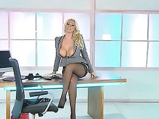 Big Tits European  Office Stockings