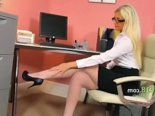 Babe Glasses Legs Office Secretary Solo Stockings
