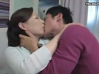 Asian Japanese Kissing Mature Mom Old and Young