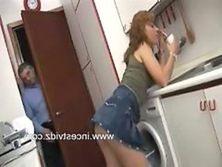 Daddy Daughter Kitchen Old and Young Skirt Teen Daughter